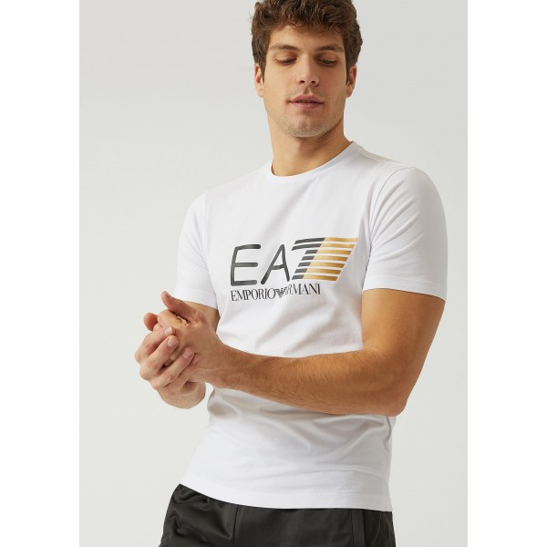 EA7-T-Shirt in Jersey di Cotone Stretch