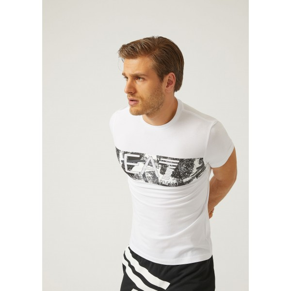 EA7-T-Shirt in Jersey di Cotone Stretch con Stampa